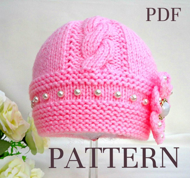 Knitting Pattern Baby Hat Baby Beanie Knit Pattern Infant Baby Girl