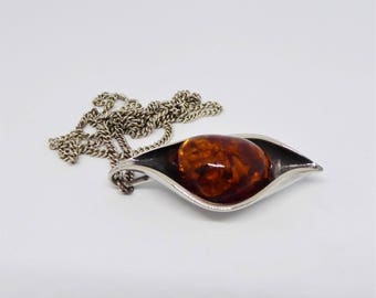 Sterling silver Cognac Baltic amber pod necklace