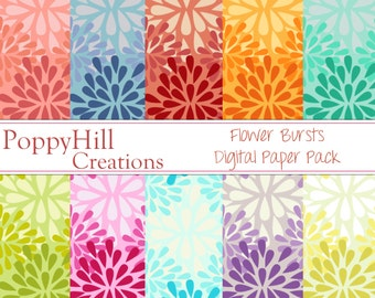 INSTANT DOWNLOAD - Printable Flower Bursts Digital Paper Pack - For Commercial or Personal Use - Digital Designs