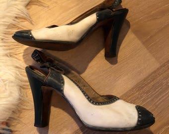 Vintage 30's 40's Navy And White Peep toe Sling back Heels