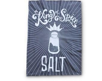 Flour Sack Tea Towel Charcoal Gray, SALT The King of Spice Chalk Art Cotton Tea Towel, Kitchen Towel,