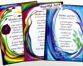 MOTHER and SON Original Poem Inspirational Quote Family Child Saying Mom Birthday Gift Nursery Home Decor Heartful Art by Raphaella Vaisseau