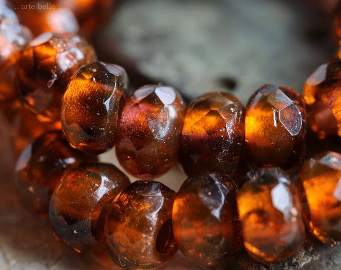 GLOWING LAVA .. 10 Premium Czech Glass Large Hole Roller Beads 6x9mm (5929-10)