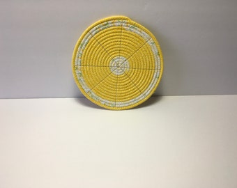Lemon Slice Coiled Rope Trivet, Fabric Hot Pad, Coiled Candle Mat, Quiltsy Handmade