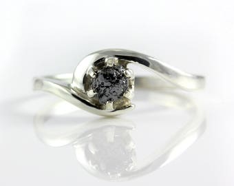 Raw Rough Diamond Ring in Silver - Six Prongs Setting, Large Size - Black Diamond Ring Swirl Design - Engagement, Promise Ring