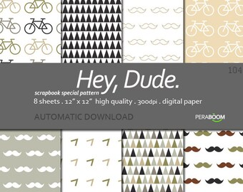 Man digital paper fathers day download Moustache digital scrapbook paper Mustache paper Gentleman Father Hipster Dad Grandpa Boy digital 104