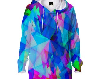 Fractal Hoodie 3d Psychedelic design mandala Art UV Black light!
