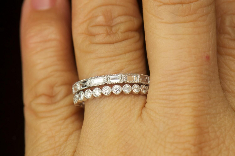 Bezel set diamond wedding bands