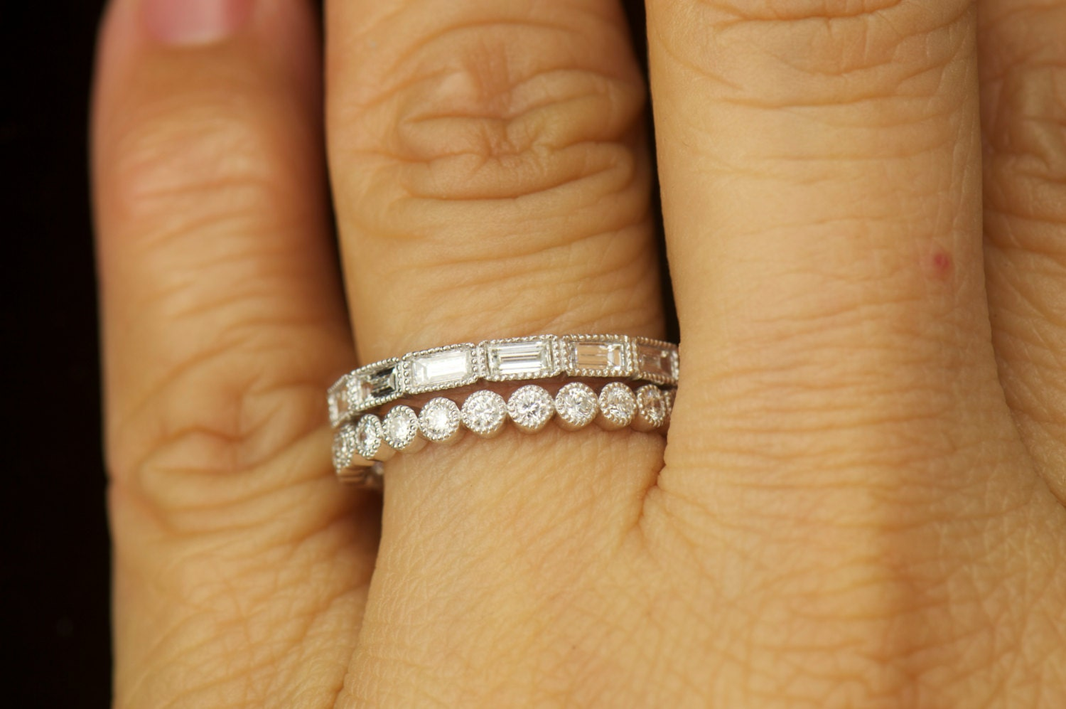 gold milgrain in bezel stackable white set band eternity bands diamond w