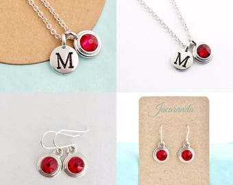 Mother Gift - Silver Personalized Jewelry For Woman - Birthstone and Initial