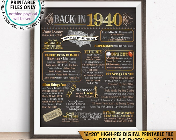 "1940 Flashback Poster, Flashback to 1940 USA History Back in 1940 Birthday 78th Birthday, Gold, Chalkboard Style PRINTABLE 16x20"" Sign <ID>"
