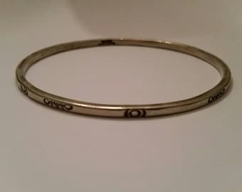 Stamped Sterling Silver Mexico 925 Bangle Bracelet Mexican Southwestern