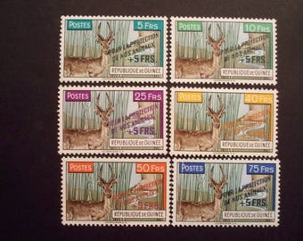 Animal Protection+Surtax*Guinea Postage Stamp Set 1961* Scott #B19-24*MLH