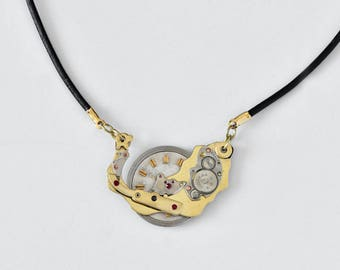 Steampunk Necklace, Upcycled vintage pendant russian watch, Mixed Metals Jewelry