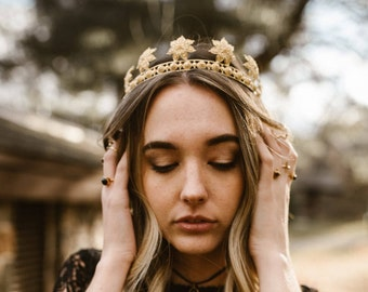 Water Lily Crown - Gold Festival Crown (free US shipping on this item)