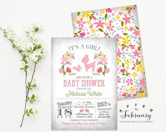 Deer Baby Shower Invitation, Spring Baby Shower Invitation, Baby Shower Invitation Girl, Woodland Baby Shower Invites No.847BABY
