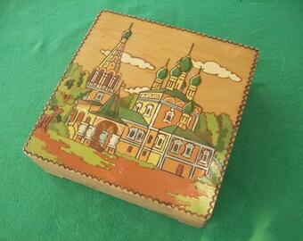 Vintage Wood Box, Wood Trinket Box, Wooden Box, Trinket Box, Jewelry Box, Hand Painted Box, Mosque, Storage Box, Small Wood Box