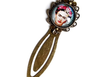 bookmarks * Frida Kahlo * book, glass cabochon surrealism painting women gift