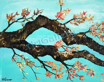 Painting of tree branches, fall branches, Fall painting, Autumn, Nature Painting