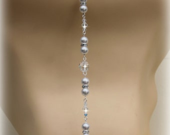 Bridal Backdrop Necklace Pearl Crystal Back Drop Necklace  'Josette' Wedding Necklace Ivory Wedding Jewellery
