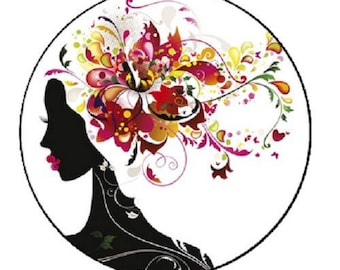 black hair woman flowers cabochon, 18mm