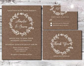 Kraft Wedding Invitation Set, Kraft Wedding Invite, Rustic Invitation, Printable, Rustic, Wreath Invite, Barn Wedding Invite, jadorepaperie