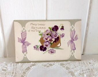 Vintage Postcard Beautiful Embossed Violets in Gold Basket Birthday Postcard