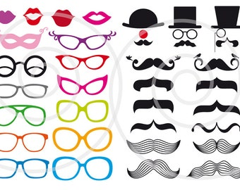 Photo booth props, mustache digital clip art set, printable for wedding, party, DIY, commercial use, PDF, SVG files, eps, instant download