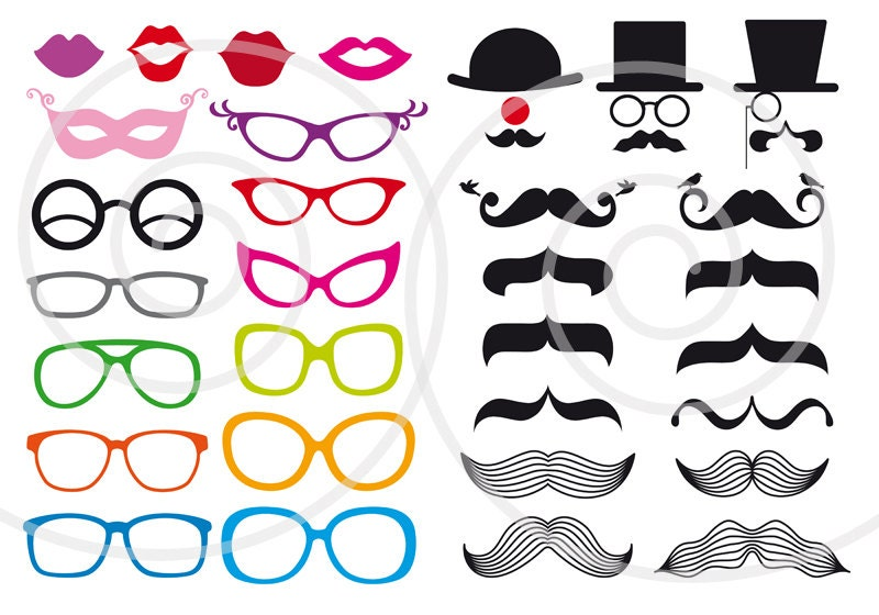 Photo booth props, mustache digital clip art set, printable for ...