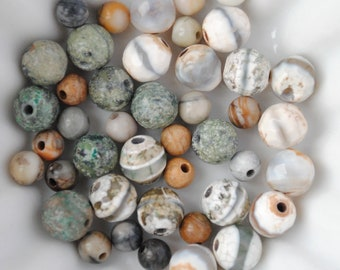 Set of 40 mixed semi precious stone: African turquoise, agate burnt Jasper - 6mm and 4 mm green brown tan beige cream
