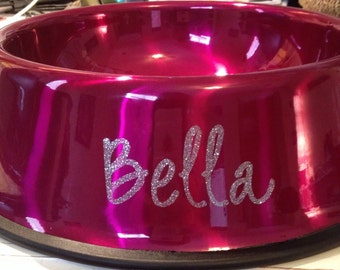 Add your dogs name on a dog bowl