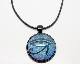 Eye Of Horus Necklace, Egyptian Eye, Occult Jewelry, Gothic, Ra, Thong Necklace, Mens Necklace