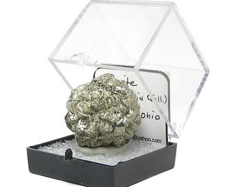 Pyrite, Golden Metallic Ornately Crystallized Ball, Natural Thumbnail Mineral Specimen, mined in Ohio, USA Gem from an estate Geo Collection