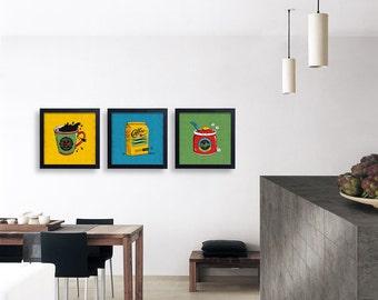 Fun Kitchen Art / Print Set, Kitchen Art Set, Retro Coffee Print, Coffee