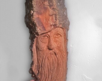 Cottonwood Wizard Wood Spirit Made in Alaska, Tree Spirit made from Alaskan Cottonwood Bark One of a kind wedding or anniversary wooden gift