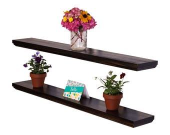 """Routed Edge Floating Shelves 36"""" (Set of 2) 100% countersunk hidden brackets"""
