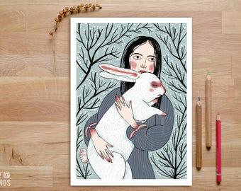 Alice Wonderland Print, White Rabbit Print, Alice Art, Girl with Rabbit, Hare Print, Gift for Sister, Illustration Art, Whimsical Art Print
