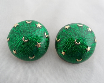 Green Earth and Sky Earrings Moon and Stars Earrings HL Jewelry Night Sky Jewelry Celestial Jewelry Green Enamel Crescent Moon Earrings