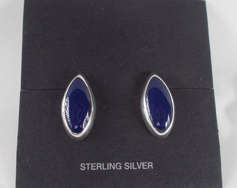 Sodalite and Sterling Silver Marquis Stud Post Earrings .925