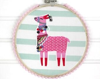 6 Inch Llama Hoop Art, Wall Hanging, Nursery Decor, Bedroom Decor, Hoop Art, Home Decor, Llama Hoop, Llama, Llama Decor, Summer Hoop