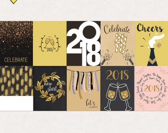Printable new year 2018 journal cards, Digital journal cards, New year project life printables, journal cards new year printable