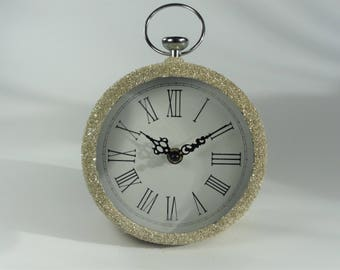 SALE - Clock decorated in vintage silver German glass glitter