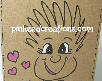 """Greeting Card PinHead Happy Face """"Follow Your Heart"""""""""""