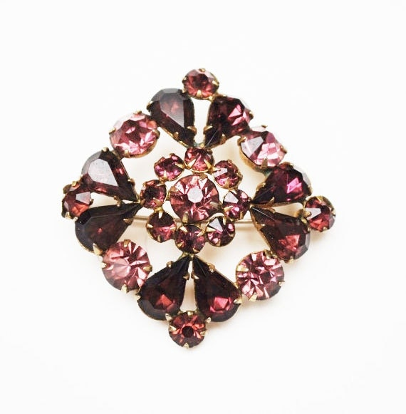 Purple Rhinestone Brooch - diamond shape - slightly domed -  Mid Century Pin