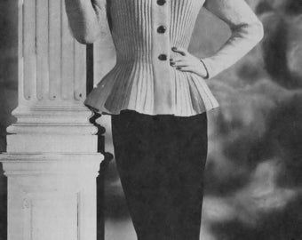 PDF Knitting Pattern Peplum Flared Jacket Bust Sizes 31 to 37 Inches E-Pattern Instant PDF Download Reproduction