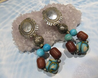 Navajo Delbert Delgarito Sterling Multi stone Earrings 6h231