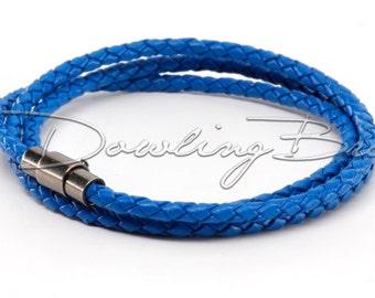 Blue Braided Genuine Leather Triple Wrap Bracelet