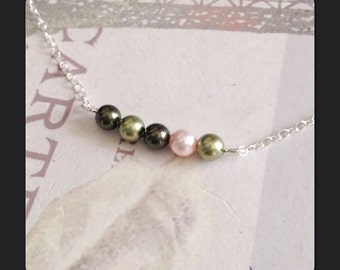Multi Color Pearl Necklace - Swarovski Birthstone Necklace - 5 Pearls in a Row - Dainty Necklace with Five Tiny Pearls - Custom colors