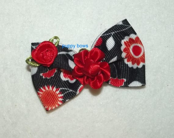 Puppy Bows ~  Red black daisy rose pet hair bow latex bands or barrette   (fb79)