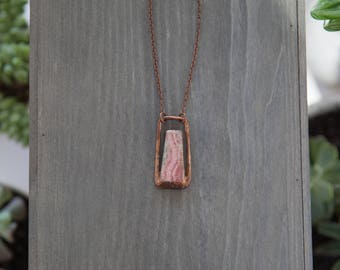 Rhodochrosite Pendant / Copper Electroformed Pendant